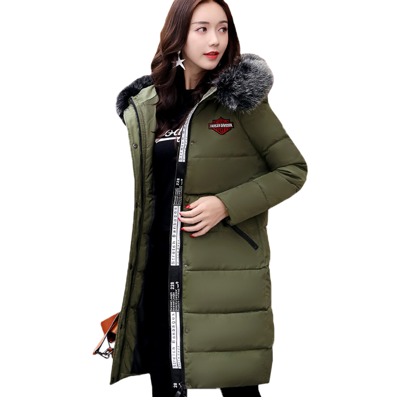 2017 Winter Jacket Women High Quality Solid Jacket Cotton Big Fur Collar Hood Long Parka Big Size Femme OutwearÎäåæäà è àêñåññóàðû<br><br>