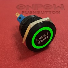ONPOW 22mm 1NO1NC black momentary ring illuminated pushbutton switch with ENGINE START symbol GQ22-11E/G/12V/A-ES(China)