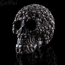 Evil Resin Skull Head Halloween Party Props Interior Resin Skull Model Escape Room Haunted House Decorations Monster Theme Party