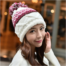 NYMPH Brand 2017 Winter Hats for women Candy Beanie Knitted Caps Crochet Hat Fur Pompons Ear Protect Casual Cap Chapeu Feminino(China)
