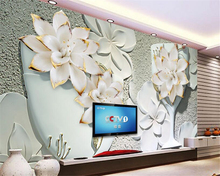 beibehang  senior wallpaper photo flower vase embossed TV background wall floral relief background wall papel de parede behang