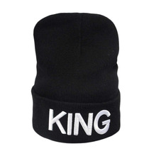 King Queen Beanie Winter Hats Caps Men Women Unisex Stocking letter Hat Beanies Knitted Hiphop Hat Female Couple Warm Winter Cap