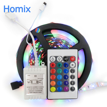 Not Waterproof White/Bule/Yellow/Red/Green 5m/300leds RGB 3528 LED strip light tape diode+24key IR remote controller free ship(China)
