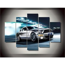 Canvas Printings Ford Mustang Gray Shelby Painting Wall Art Home Decoration Canvas framed Free shipping(China)