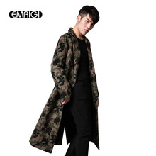New autumn winter men trench coat fashion casual long woolen camouflage slim fit jacket men's long trench coat C22