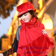 Free Shipping Hot Sale Fashion New Elegant Women Hat Velvet Red Hat Winter Hat Women Dress with Shawl Flower Shawl Fashion Dress(China)