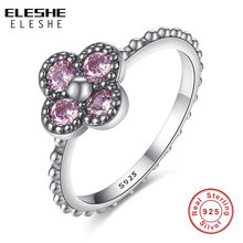 ELESHE Valentine's Gift 100% 925 Sterling Silver Rings With S925 Logo Purple Crystal Clover Ring for Women Anniversary Jewelry(China)