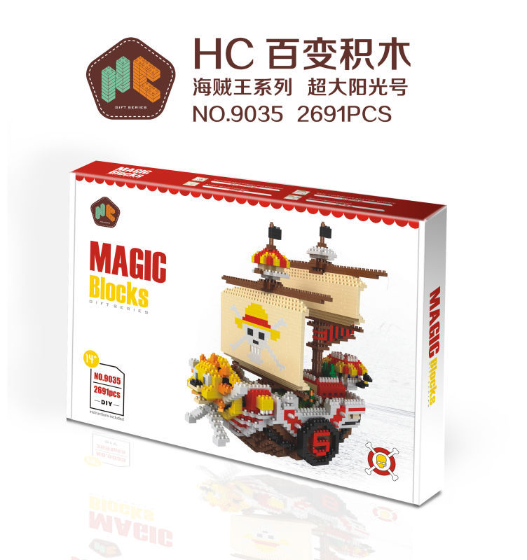 HC Magic Blocks One Piece Blocks THOUSAND SUNNY Pirate Ship Blocks DIY Building Anime Toys Auction Model Toy Kids Gifts HC9035<br>