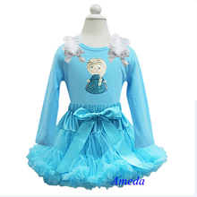 Embroidered Elsa Princess Turquoise Blue Pettiskirt  with Blue Long Sleeves Top Pettitop Party Dress 1-10Y