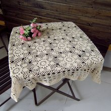 Lace Tablecloth Crochet Square Tablecloth 120 Handmade Crochet Tablecloth White / Beige, 120/110 Free shipping