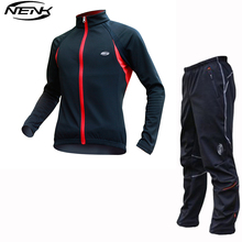SOBIKE NENK MTB Fleece Cycling Suits Long Jersey Wind Coat Jacket & Winter Pants Tights Cycling Jersey Thermal Black Red