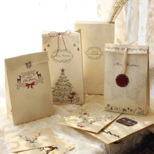 Christmas Series Paper Bags Gift Packaging Paper Bag Gift Bags Snacks Candy Packaging Party Supplies 22*12*6cm Mixed 24pcs/lot