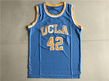 SexeMara Mens Kevin Love #42 University UCLA Bruins Blue Stitched College tee Basketball Jersey Embroidery Logo  Any Name Letter
