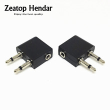 500pcs 3.5mm to 2 x 3.5mm Airplane Airline Headphone Earphone Jack Audio Adapter