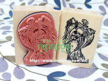 Cute dog rubber stamp wood stamp scrapbooking rubber stamping bird stamp 4cm x3cm