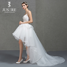 Hi-lo Spaghetti Straps Sweetheart Open Low Back Sexy Bodice Tiered Skirt Ruffles Tulle Short Front Long Back Wedding Dress 2017