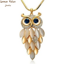 Lemon Value Vintage Punk Maxi Crystal Owl Pendants Fashion Charms Rhinestone Opal Long Chain Necklaces Women Jewelry Bijoux A411(China)