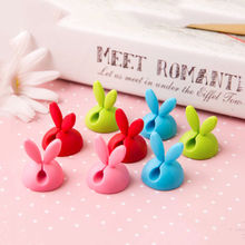 4Pcs Lovely Rabbit Earphone Cable Drop Clip Desk Tidy Wire Organiser USB Charger Cord Holder