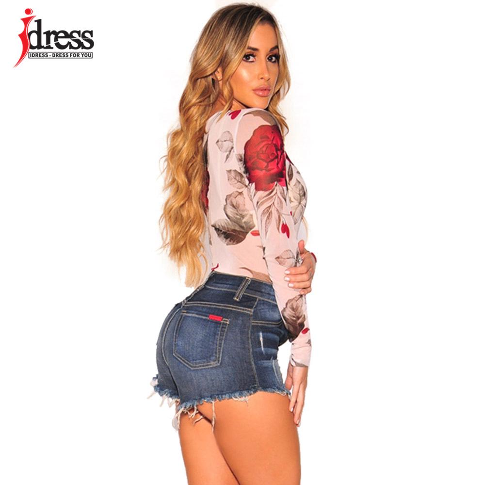 IDress 2018 New Design Women Elastic Floral Print Mesh Bodysuit Sexy Sheer Body Suit Leotard Rompers Black Bodysuit Long Sleeve (8)