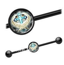 316L stainless steel with anodized cross picture industrial barbell new ear plug body piercing jewelry(China)