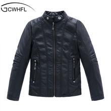 GCWHFL High Quality Jackets Boys Autumn Winter Girls PU Leather Jackets Children 4-16Y Clothing Kids Warm Thick Coat Outerwear(China)