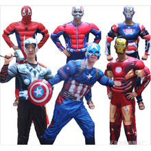 Free shipping,halloween party Adult Avengers muscle Thor spiderman ant blue iron man batman superman Captain America costume