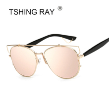 TSHING RAY Fashion Women Flat Top Sunglasses Woman Luxury Brand Designer Mirror Sun Glasses F Ladies Celebrity Sunglass UV400(China)