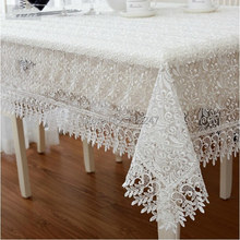 White High Quality Elegant Polyester Satin Full Lace Tablecloth Wedding Organza Table Cloth Cover Overlays Home Decor Textiles