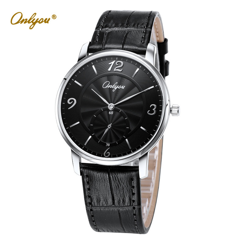 Wrist Watches for Men Onlyou Quartz Analog Mens Gold Watch Black Genuine Leather Strap relogio masculino erkek kol saati 81101<br>