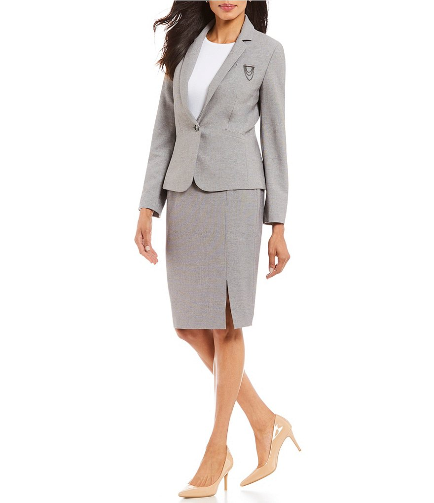 Grey One Button Women's Slit Skirt Suits Formal Suits Work Suits Office Lady Suits Custom Made Jacket/Skirt
