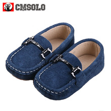 CMSOLO Boys Shoes Genuine Leather Children's Shoe Loafer Suede Black Blue 2017 Kids Casual Flats Sneakers Toddler Boys Shoes New(China)