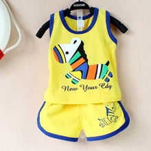 2017 New summer baby clothing set cotton Cute pattern Vest & shorts baby boy clothing sets 0-2 year baby suit set baby clothes(China)