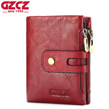 GZCZ Women Wallet Female Genuine Leather Women Walet Coin Purse Small Vallet Card Holder With Zipper Clamp For Money Portomonee(China)