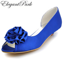 Woman shoes Low Heel Peep Toe Flower Comfortable Satin Lady Girls Bride Prom Party Wedding Bridal Shoes Blue White Ivory  WM-007