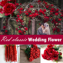 luxurious Red classic wedding decoration flower DIY silk rose Hydrangea peony bouquet for flower wall bride hand bouquet
