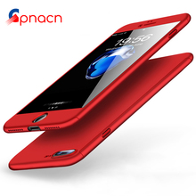 Buy 360 Degree Full Cover Red Cases iPhone 6 6s 7 Plus Case wish Tempered Glass Cover iphone 7 7Plus 6s Phone Case Capa for $3.19 in AliExpress store