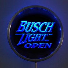 rs-0044 Busch Light OPEN LED Neon Round Signs 25cm/ 10 Inch - Bar Sign with RGB Multi-Color Remote Wireless Control Function(China)