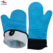 FINDKING 1 pcs Silicone Oven Mitts, Ideal Protection with Extra Long Thick Quilted Cotton Liner, Silicone BBQ Glove