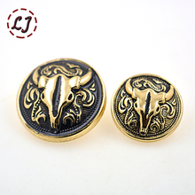 New fashion10pcs/lot 18mm 23mm snap buttons gold round zinc alloy vintage button men T-shirt suit overcoat buttons sew on DIY(China)