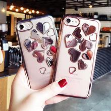 Gold plating TPU case for iphone 7 7Plus 3D Laser carving heart pattern soft TPU case For iphone 6 6s 7 7Plus back cover Fund