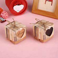 Kraft Paper Candy Box Packing Wedding Party Favour Heart Shaped Gift Supplies