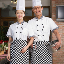 Summer Hotel Service Chef Jacket Short Sleeve Cooking Uniforms Restaurant Chef Jackets,Concise Chef Kitchen Top Work Wear 18