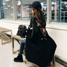female Black Long jacket Embroidery rivet coat Thin waist outfit costume casual nightclub performance