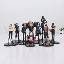 9pcs/set Anime One Piece Film Gold Monkey D Luffy Tony Tony Chopper Brook Sanji Nami Zoro PVC Figures Toys 9-22cm(China)