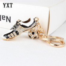 Fashion Football Shoe Sport Lovely New Fashion Cute Crystal Charm Pendant Purse Bag Car Key Ring Chain Party Creative Gift(China)