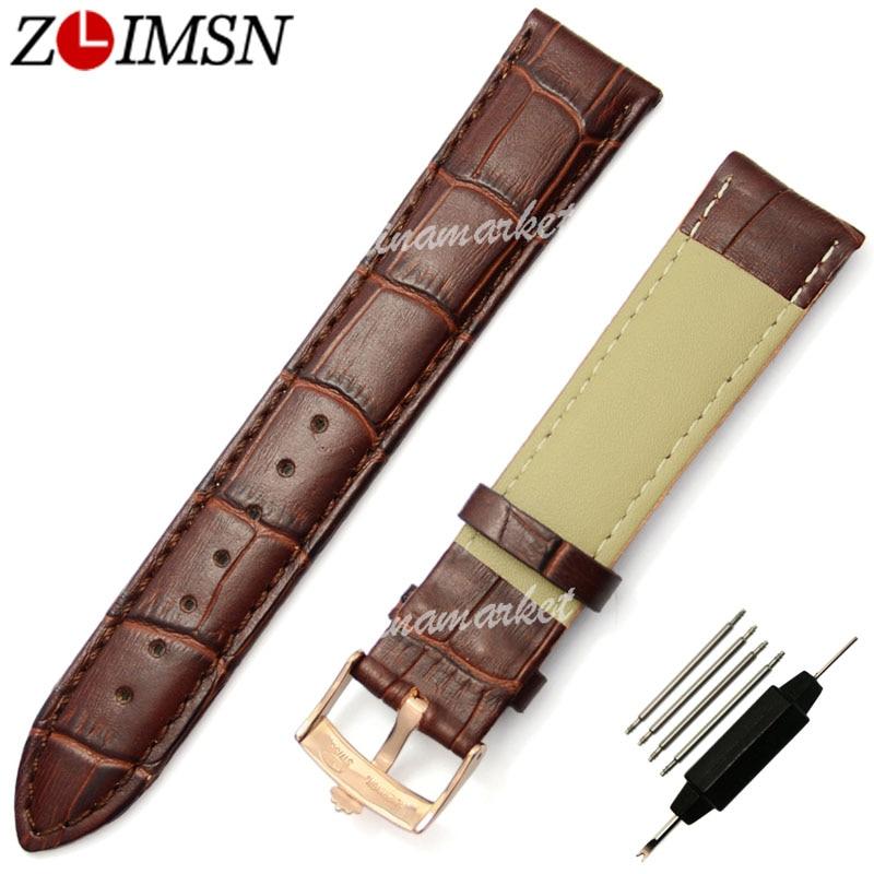 ZLIMSN Real Leather Mens Women Black Brown Rose Gold Crocodile Grain Watchbands Watch Band Strap Belt Metal Buckle 18mm 20mm<br><br>Aliexpress