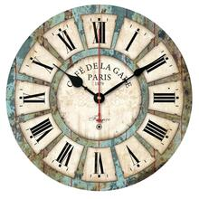 High Quality New European Style Vintage Creative Round Wood Wall Clock Quartz Bracket Clock Wood Wall Clock 1pc drop shipping