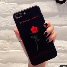 LOVECOM New Fashion For iPhone 6 6S Plus 7 7 Plus Sweet Love Letters DIY Beautiful Red Rose Flower Soft TPU Best Gift Phone Case(China)
