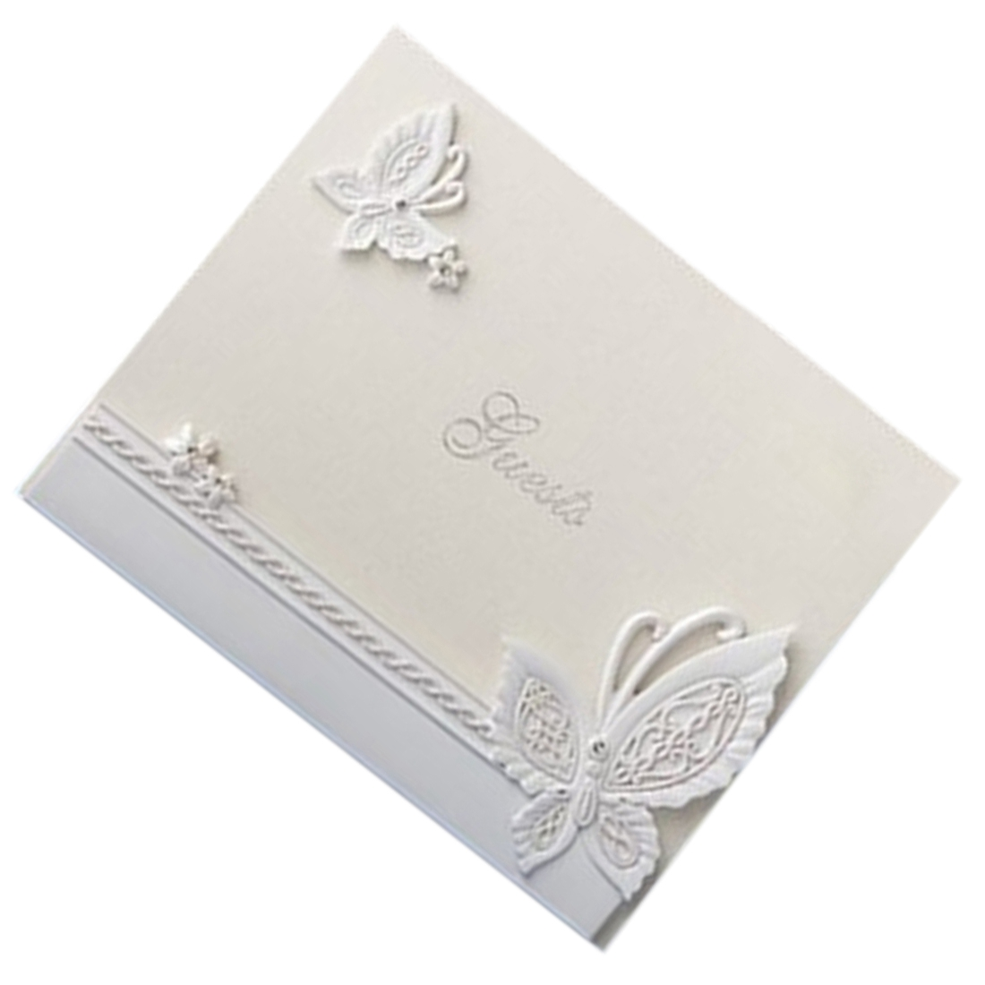 5PACK Perfect-Elegant wedding guest book Diamante butterfly signature book<br>