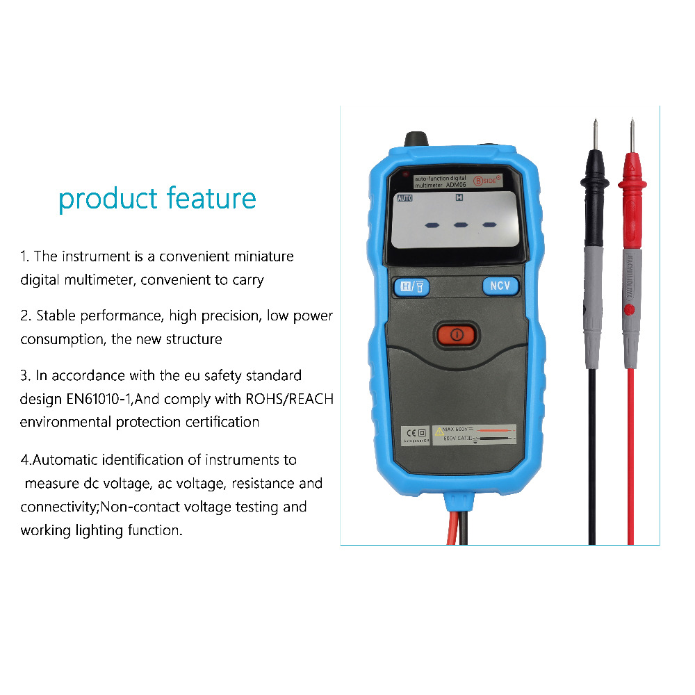 BSIDE ADM06 HOT SALE Smart   Mini pocket digital multimeter 100% FUSED Free shipping<br><br>Aliexpress